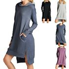 Solid Fleece Long Sleeve Hooded High Low Hem Dress with Side Pockets SM ML