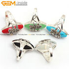 Olive Stone Beads Rivets Beads Silver Plated Jewelry Ring #7-#9 Send by Random