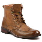 Polar Fox  Men's Lace Up Wing Tip Perforated Work Dress Ankle Boots MPX-808567