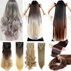 NEW Ombre Mix Clip in on Hair Extensions Full Head Thick 8 Pieces Curly Straight