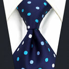 "B24 Blue Polka Dots Extra Long Size Mens Ties Neckties 57.5"" 63"" 100% Silk"