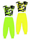 Girls Neon Outfit New Kids Camo Crop Top Harem Pant Dance Set Ages 7-13 Years
