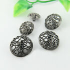 12PCS Antique Silver Metal Carving Round Shank Buttons Sewing 15 18 20 23 25 mm