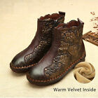 DESIGNER VINTAGE HANDMADE LEATHER FLORAL ANKLE BOOTS WINTER FLAT HEEL SHOES
