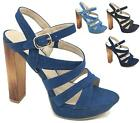 WOMENS HIGH BLOCK HEEL DENIM STRAPPY ANKLE BUCKLE PEEP TOE SANDALS SHOES SIZE