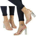 WOMENS LADIES CLEAR BLOCK HIGH HEELS ANKLE STRAPPY OPEN TOE SANDALS SHOES SIZE
