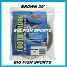 AFW TOOTH PROOF STAINLESS STEEL LEADER Single Strand Wire 30' Long BROWN COLOR