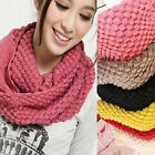 Women's Men's 2 Circle Winter Warm Knitted Cowl Neck Scarf Shawl Gift Novelty