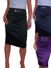 ICE (2328) Pencil Skirt Stretch Satin + FREE Belt Size 8-18