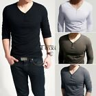 Men's Slim Fit Tee V Neck Long Sleeve Cotton Casual T-shirt Tops Blouse Lot TXCL