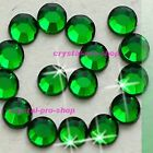 (Any SIZE) Emerald Green Iron On ( Hot fix ) Shine Crystal Flatback Rhinestones