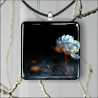 FLOWER BLUE AND WHITE ROSE PENDANT NECKLACE 3 SIZES CHOICE -gjt5Z