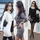 Women's Long Sleeve Party Evening Casual Club Mini Slim Dress Autumn Winter