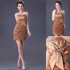 SEXY Women Gold Cocktail Prom Evening Dress Bridesmaid Wedding Party Short Gown