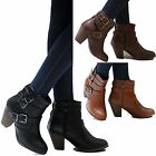 New Women EFy Black Tan Brown Western Ankle Booties Riding Boots 6-10