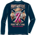 Erazor Bits Apparel Long Sleeve T-Shirt Firefighter Race For A Cure Cancer Navy