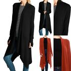 Solid Thumb Hole Long Sleeve Calf Length Open Front Draped Cardigan S M L