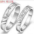 1 pc 925 Sterling Silver Cute Sublime Crystal Engraved Couple 6mm Band Ring E833