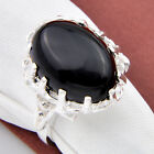 Woman Jewelry  Natural Black Onyx Turquoise Gemstone Silver Rings US Sz 7 8 9