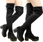 Ladies Women Over The Knee Thigh High Cleated Platform Mid Heel Boots Shoes Size