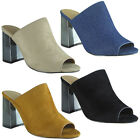 Womens Ladies Peeptoe High Chunky Heels Sandals Denim Mules Fashion Shoes Size