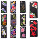 For Apple iPhone Black Dried Flowers Shockproof Case TPU Soft Glossy Cover Skin