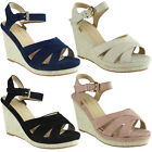 Womens Ladies Faux Suede Ankle Strap High Wedge Heel Party Sandals Shoes Size