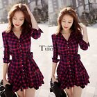 2016 Spring Women Fashion Plaid Slim Casual Party Long Sleeve Shirt Dress TXCL