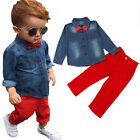 2pcs Newborn Kid Baby Boys Denim Shirt Tops + Red Pants Outfits Set With Bow New