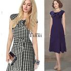 Womens Vintage Houndstooth Bow Casual Party Evening Mermaid Shift Dress TXCL