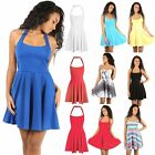 Women Sleeveless Backless Franki Flared Ladies Party Mini Skater Mini Dress 8-26