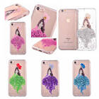 For iPhone Sexy Girl Clear Glitter Flash Petals Shockproof Rubber Silicone Cover
