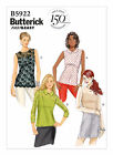 Butterick 5922 Misses' and plus size Pullover Tops Sleeveless & long sleeve