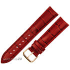 Red Alligator Grain Leather Strap WatchBand Rose Gold Pin Buckle 12~24mm