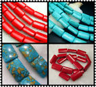 "10x15mm,15X25mm Beautiful Howlite Turquoise Rectangle Loose Beads 16"" T056"