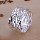 Ship From USA 925 Sterling Silver Classic Woven Knot Ring Size 8 Jewelry A229