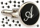 SINGLE SILVER  BLACK LETTER INITIAL ALPHABET CUFFLINK MIX  MATCH VELVET POUCH