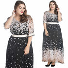Chic Floral Prints chiffon everyday evening maxi dress women's plus size M-7XL