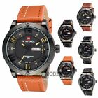 Fashion Men's Military Leather Quartz Analog Quartz Date Wrist Watch Waterproof