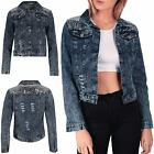 Womens Ladies Sequin Shoulder Denim Jean Front Buttons Coat Crop Jacket Outwear