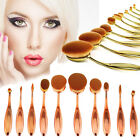 10pcs Toothbrush Power Foundation Oval/Circle Contour Puff Makeup Brushes Fn