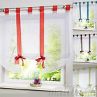 1PC Tab Top Sheer Kitchen Balcony Window Curtain Voile Liftable Roman Blinds UK