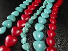 "18mm,20mm Blue / Red Turquoise Heart Loose beads Gemstone Jewelry 16""L T207"