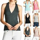 Halter Neck Double Layered Solid Fitted Tank Top Casual Cute Rayon S M L XL
