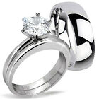 His Hers 3 Pcs Men's Women's Stainless Steel Wedding Engagement Ring Band Set