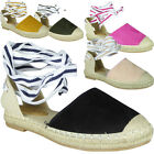 Womens Flat Platform Ladies Suede Tie Up Espadrilles Pumps Sandals Shoes Size