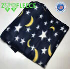 "ZooFleece Starry Night Sky Stars Moons Blanket Throw Blue Quilt Winter 60X68""  image"