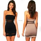 Sexy Women Bandeau Casual Backless Bodycon Sheer Party Cocktail Mini Dress K0E1
