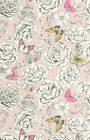 Holden Decor Primrose Dusty Pink Lime Butterflies Floral Wallpaper 98832