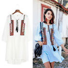 Ethnic Style Geometry Pattern Embroidery Lacing Up Vintage Dresses Casual New
